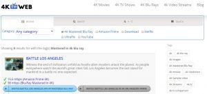 Screenshot of ClawTV 4K movie database