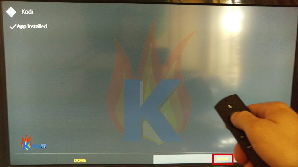 Press Open to Launch Kodi