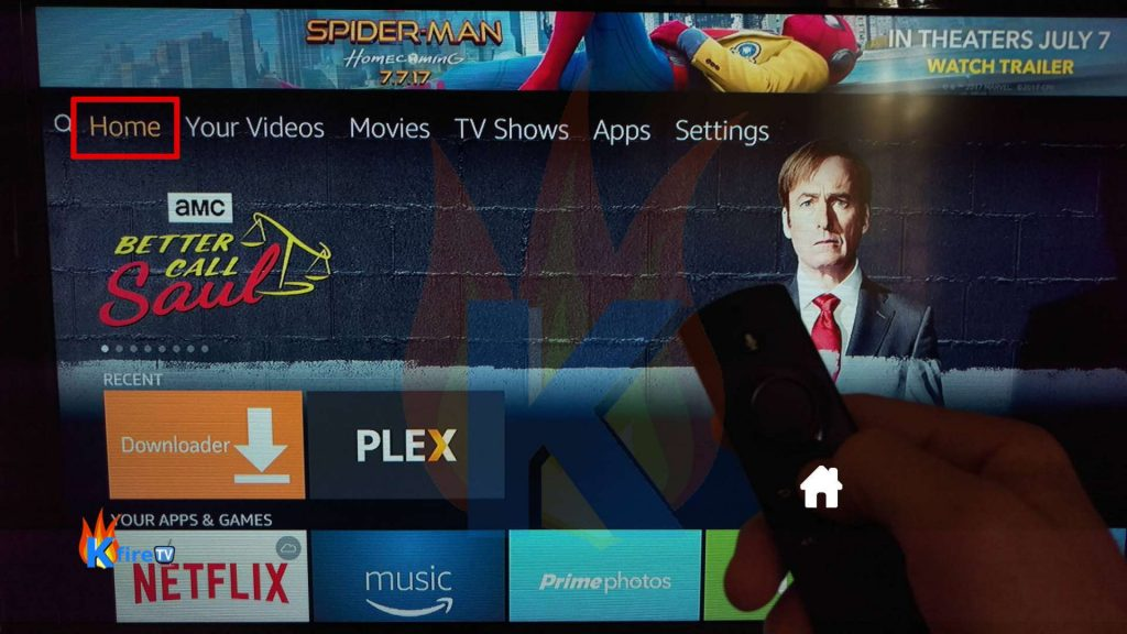 Return to Firestick Homescreen by pressing Home on the Fire TV remote