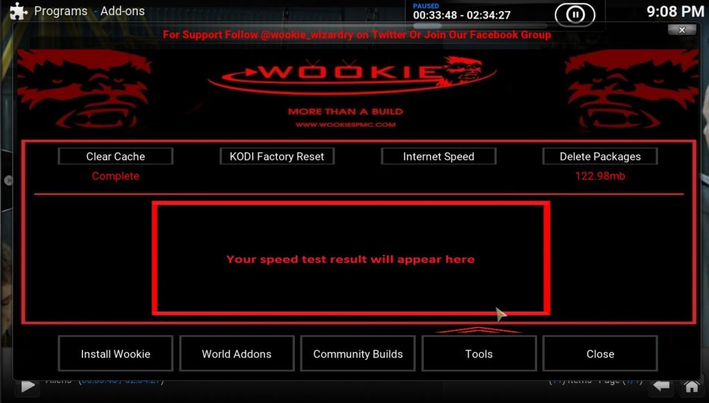 Wookie Wizard Tools to Clear Cache Data and Reset Kodi