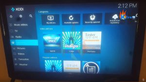 Kodi 17.1 Add-Ons menu