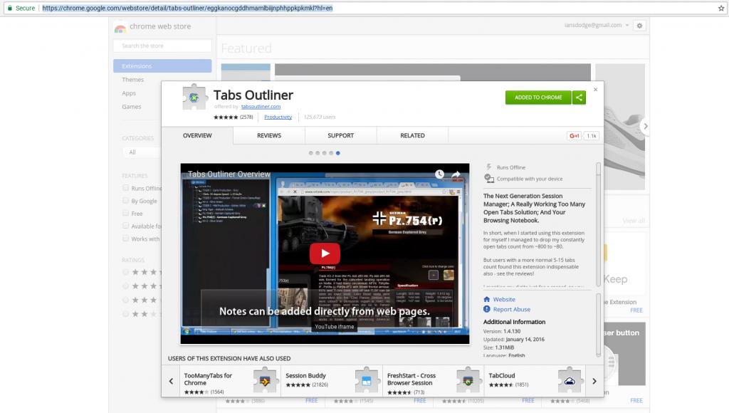 Tabs Outliner Google Chrome Extension