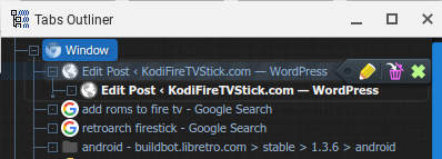 Tabs Outliner tree view mode in Google Chrome