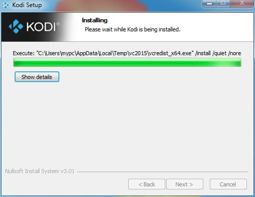 Last part of Kodi Windows install process: Waiting for Visual C Runtime
