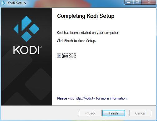 Finishing the Kodi Windows install process