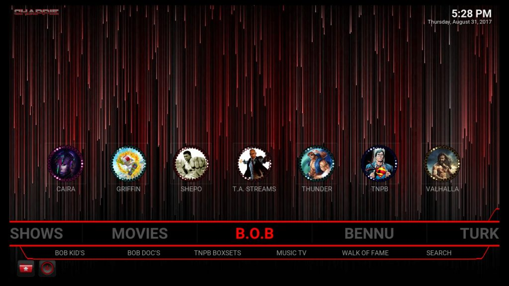 Valhalla is above BOB in Chappie Build for Kodi