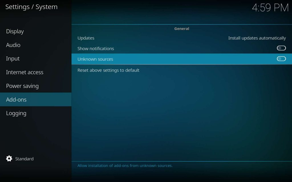 Install SuperRepo Kodi Add-on - Toggle Unknown Sources
