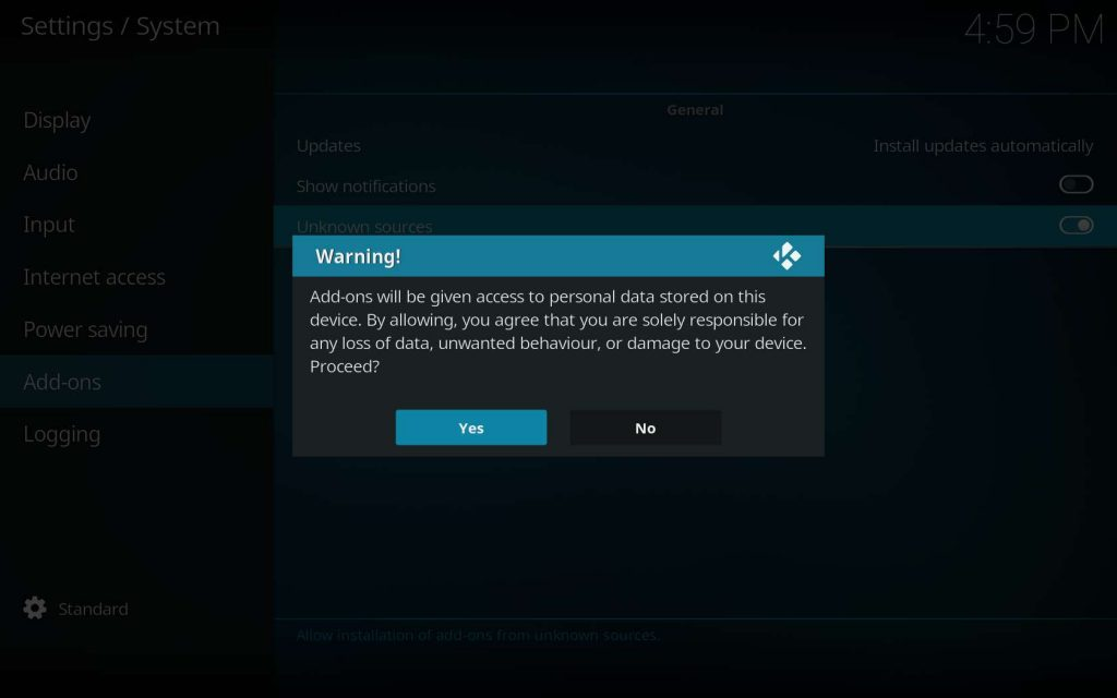 Colossus Install for Kodi - Warning Dialog