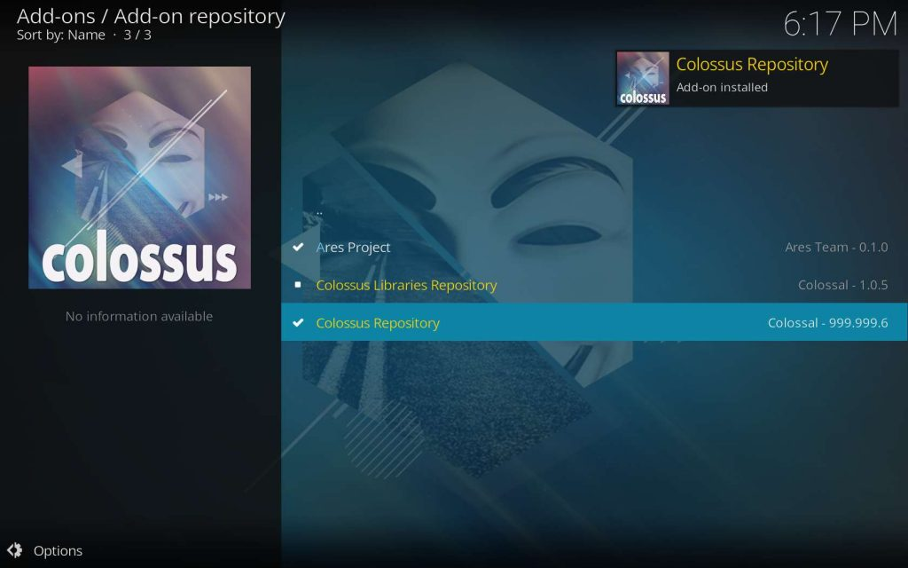 Kodi Colossus install success