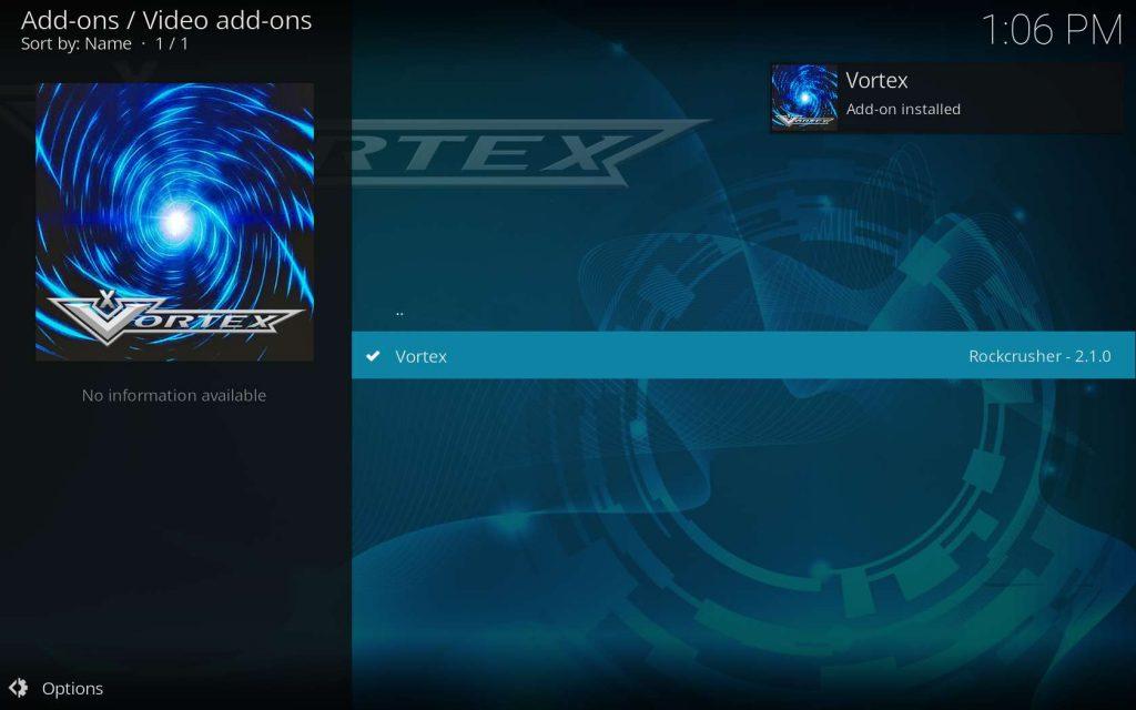 Vortex Installed