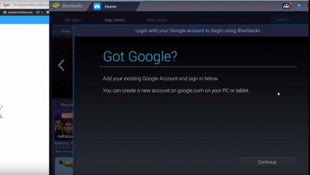 Google Sign in for Bluestacks
