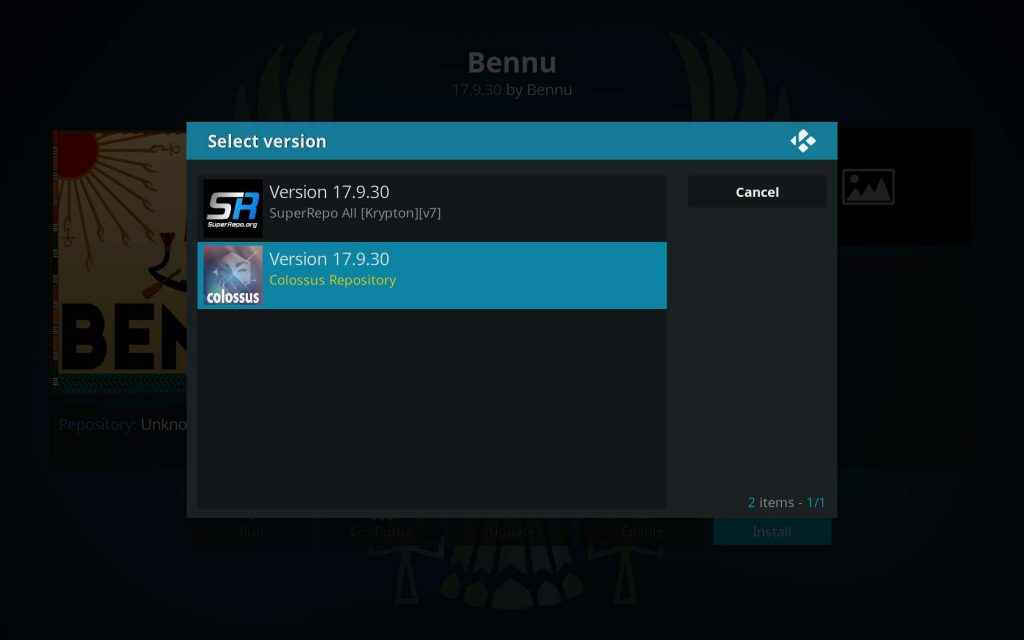 select Bennu version