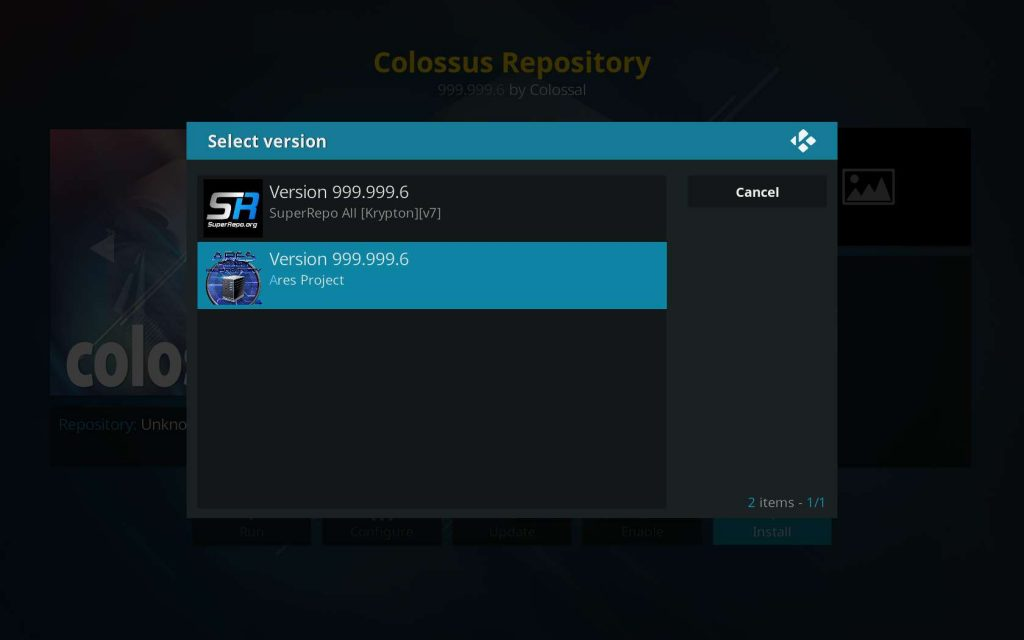 select Colossus home repo version